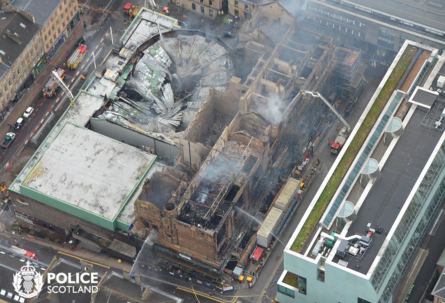 Aerial view of Glasgow School of Art and surrounding buildings after the fire on 15/16 June 2018