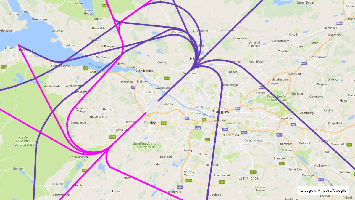 Concerns over glasgow airport flight path plans bbc news map of current glasgow airport departure routes in 2018 publicscrutiny Gallery