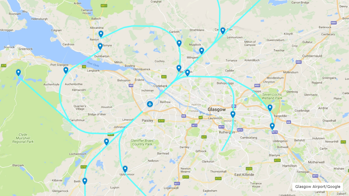 Map of proposed Glasgow Airport departure routes in 2018