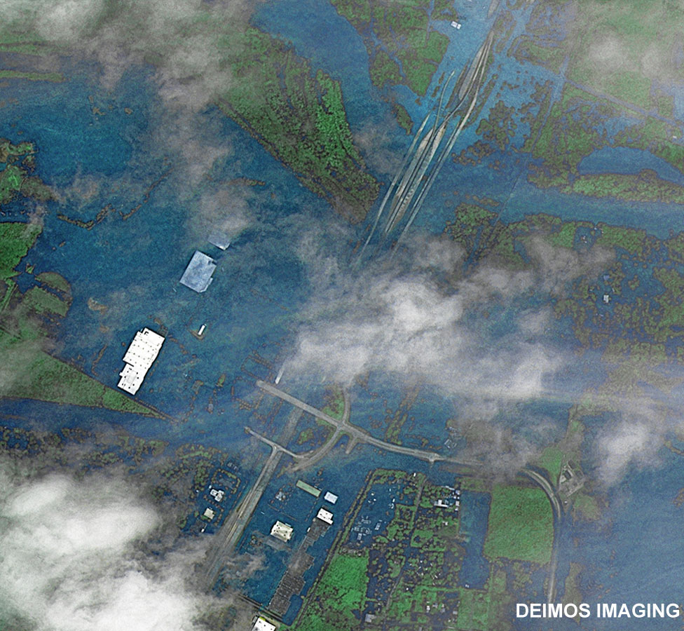 Image taken by Deimos-2 satellite and colour-corrected to show flood waters
