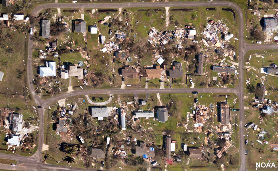 Aerial image shows impact of Hurricane Harvey on houses near Rockport, Texas