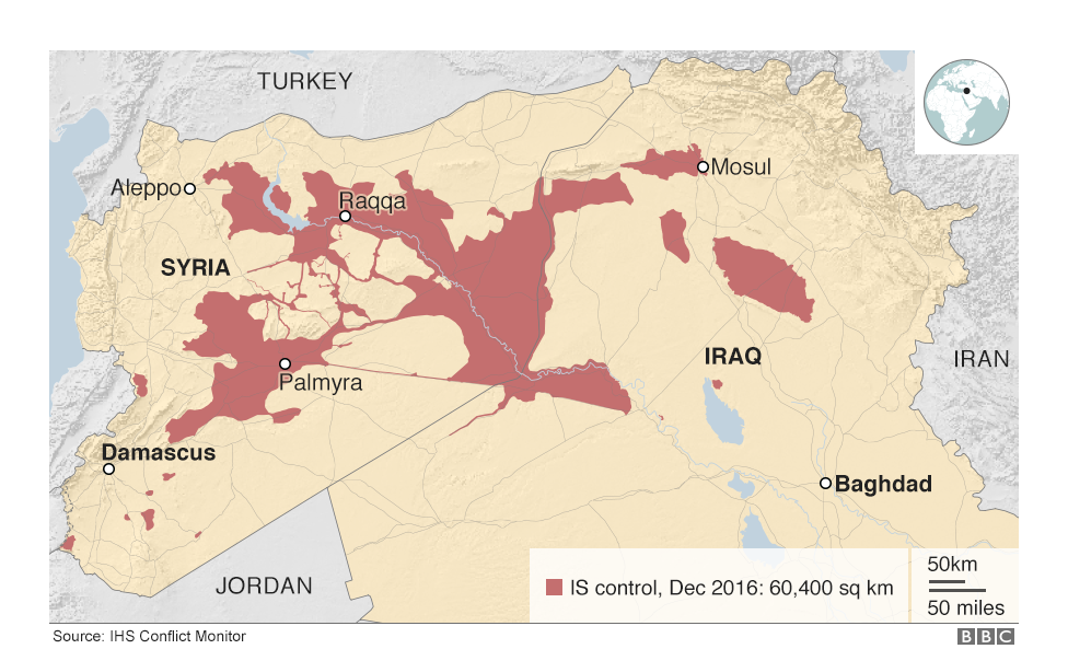 Map of Iraq and Syria showing the territory controlled by IS in December 2016