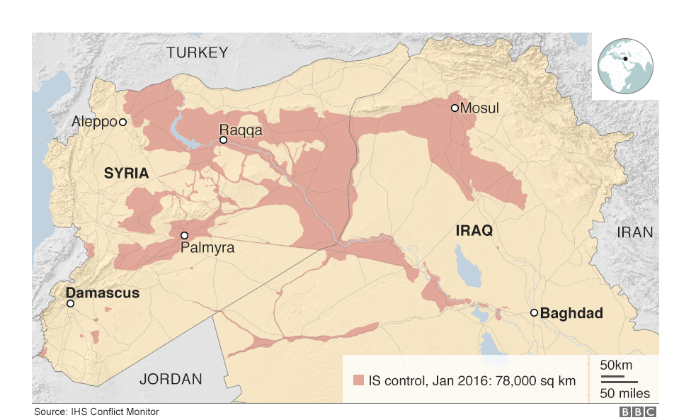 Map Of Iraq And Syria Showing The Territory Controlled By Is In January 2016