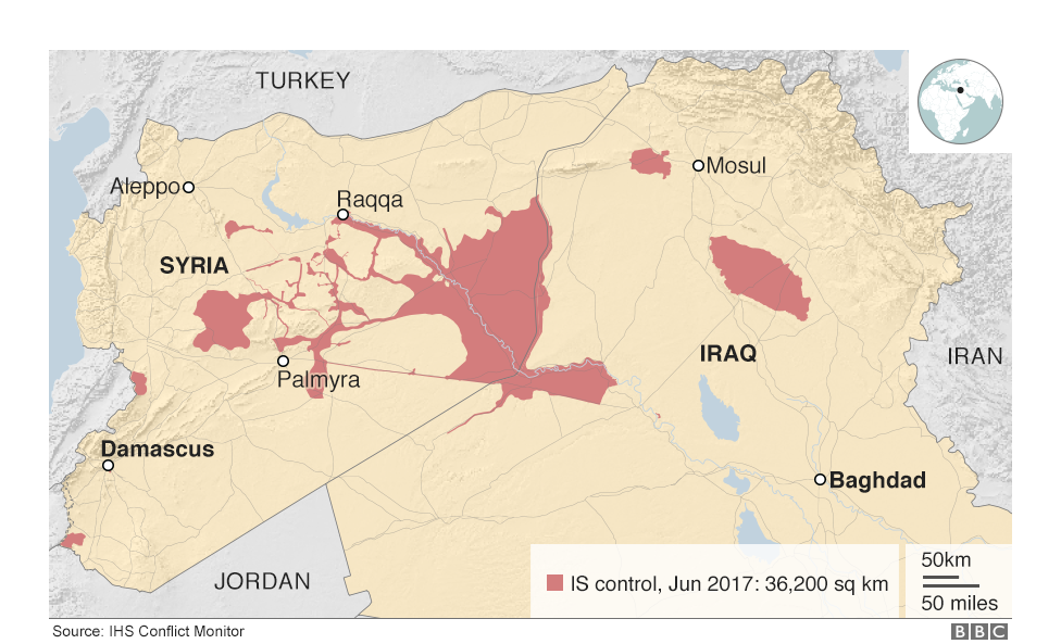 Map Of Iraq And Syria Showing The Territory Controlled By Is In June 2017