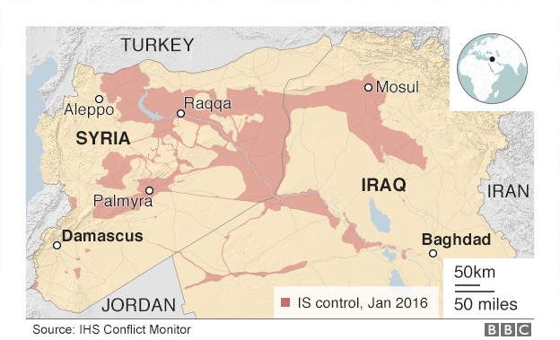 IS kontrolü altındaki alanlar, Irak ve Suriye Ocak 2016