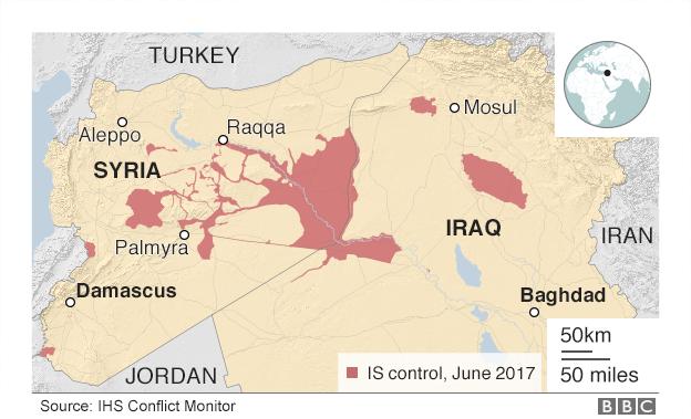 IS kontrolünde olan bölgeler, Irak ve Suriye Haziran 2017