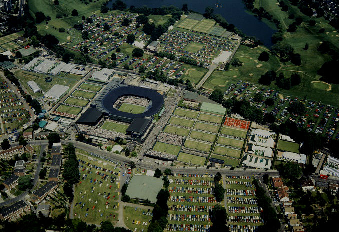 Aerial view of Wimbledon in 1968