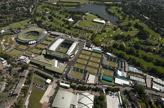 Aerial view of Wimbledon in 2018