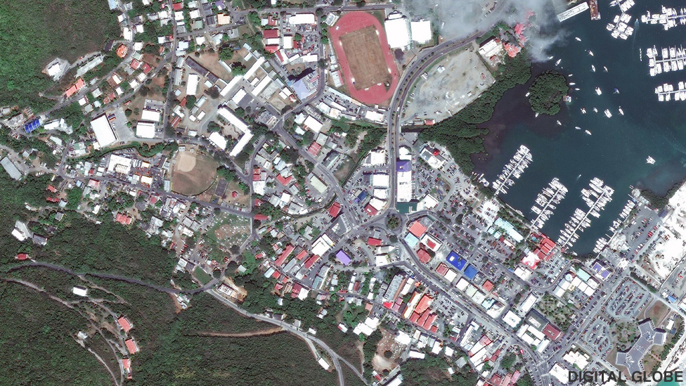 Satellite image of Road Town, Tortola in March 2017