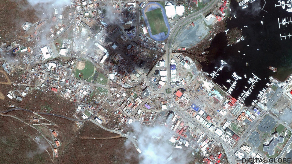 Satellite image of Road Town, Tortola after Hurricane Irma, 9 Sep 2017