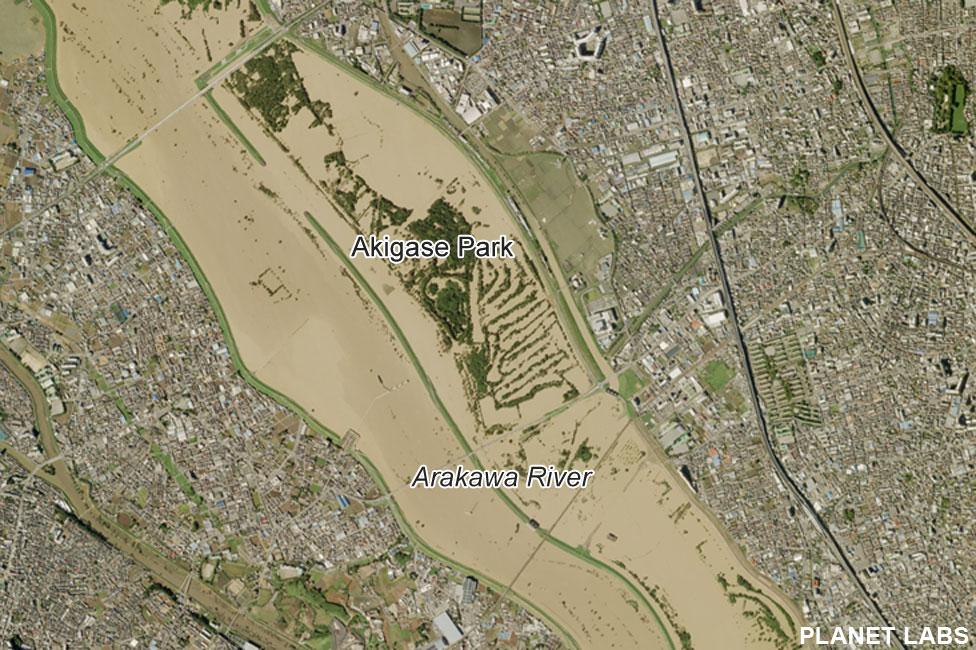 Satellite image of Arakawa River after Typhoon Hagibis