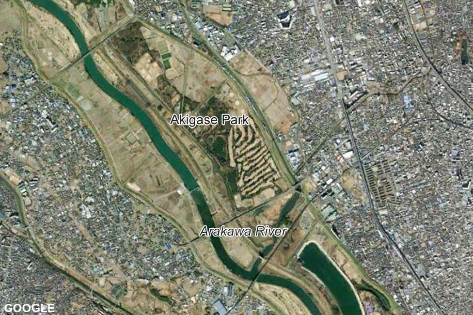 Satellite image of Arakawa River before Typhoon Hagibis