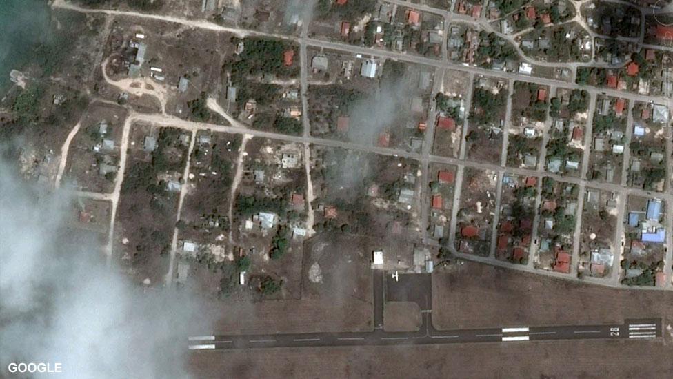 Снимок аэропорта Барбуды со спутника