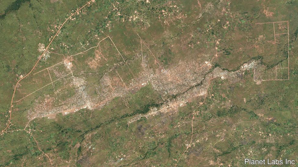 Imagen satelital de Bidi Bidi en noviembre de 2016