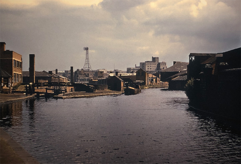 View of the Birmingham canal, 1953