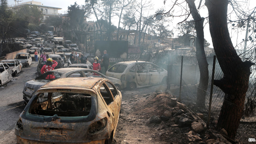 Cars destroyed by fires in Mati, Greece