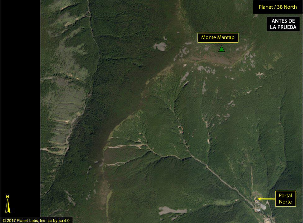 Imagen satelital de Punggye-ri el 1 de septiembre