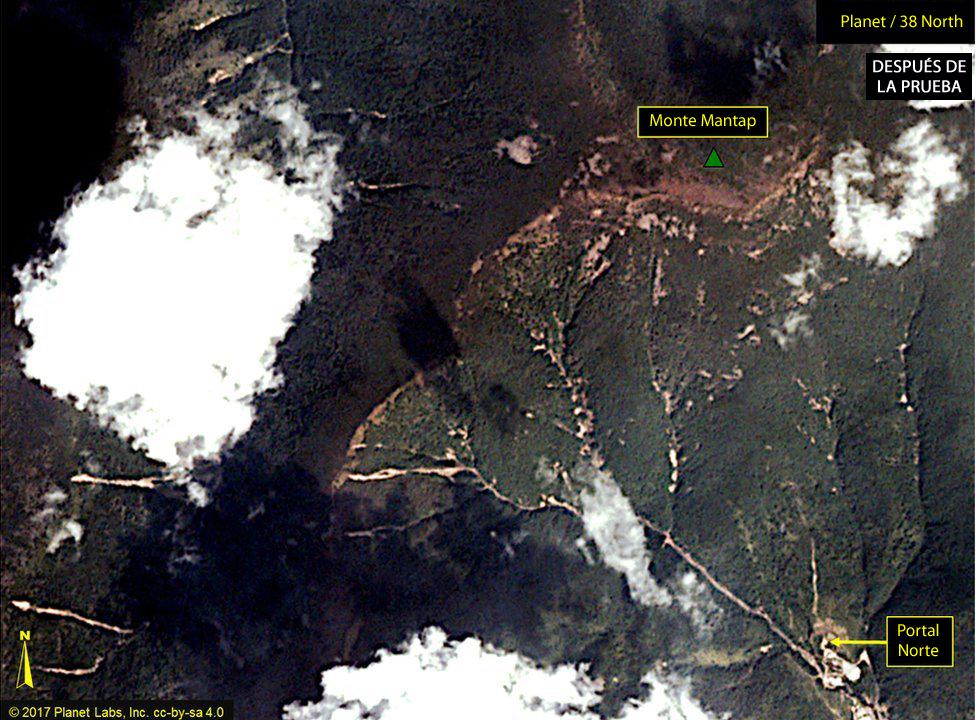 Imagen satelital de Punggye-ri el 4 de septiembre
