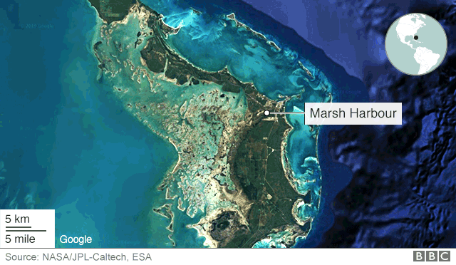 Satellite image of Abaco Islands