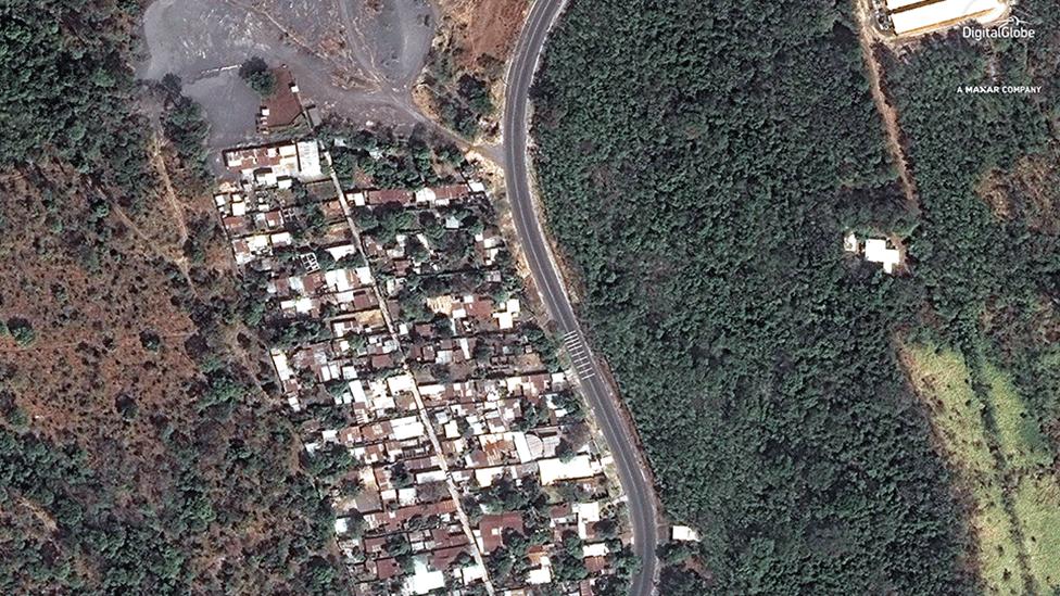 Imagen satelital de San Miguel Los Lotes tomada antes de la erupción en febrero de 2018.