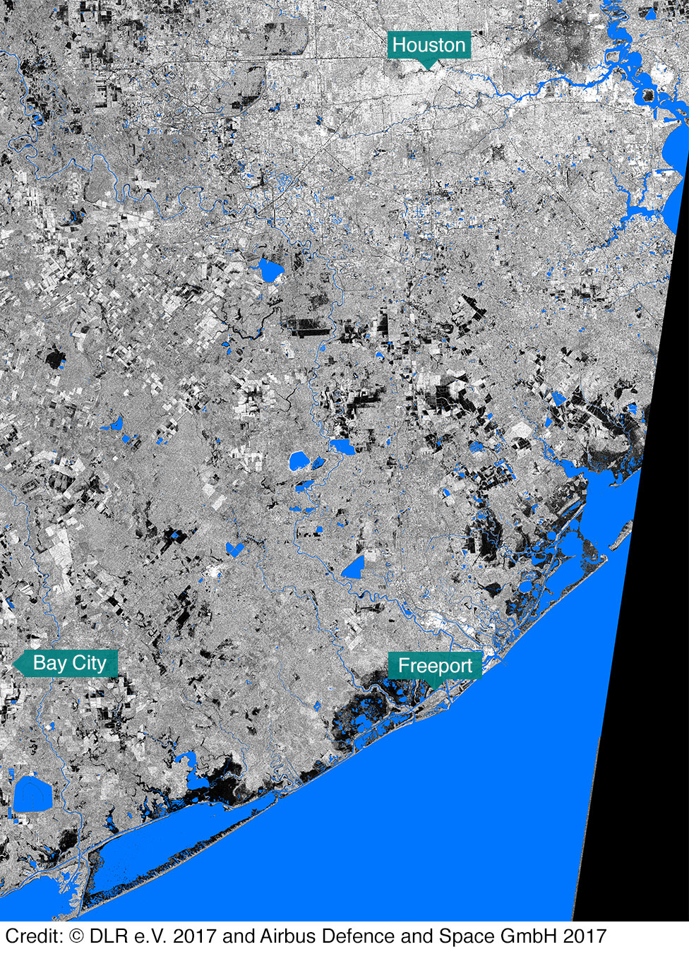 Before In maps Houston and Texas flooding