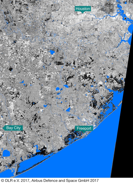 Imagen satelital de la costa de Texas antes del huracán Harvey