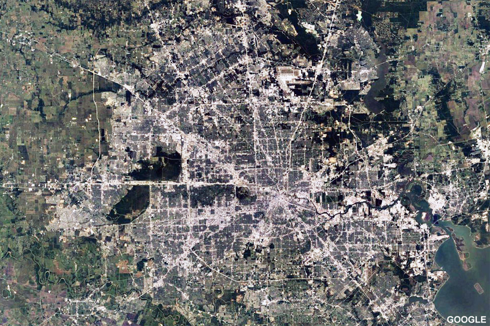 Satellite image of Houston taken in 2017