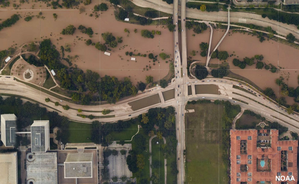 Aerial images show how central Houston underpasses remain flooded, 30 August