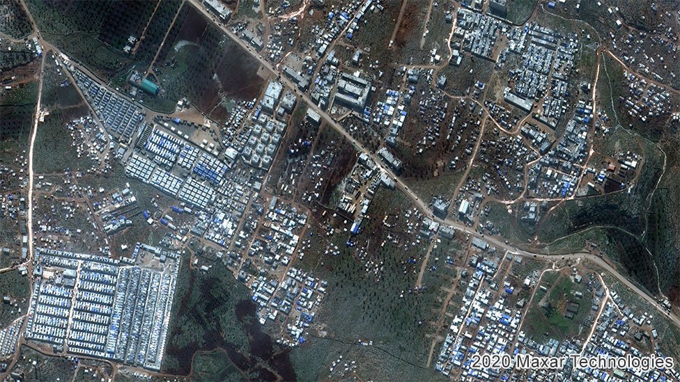 Aerial view of much bigger IDP camp in 2020