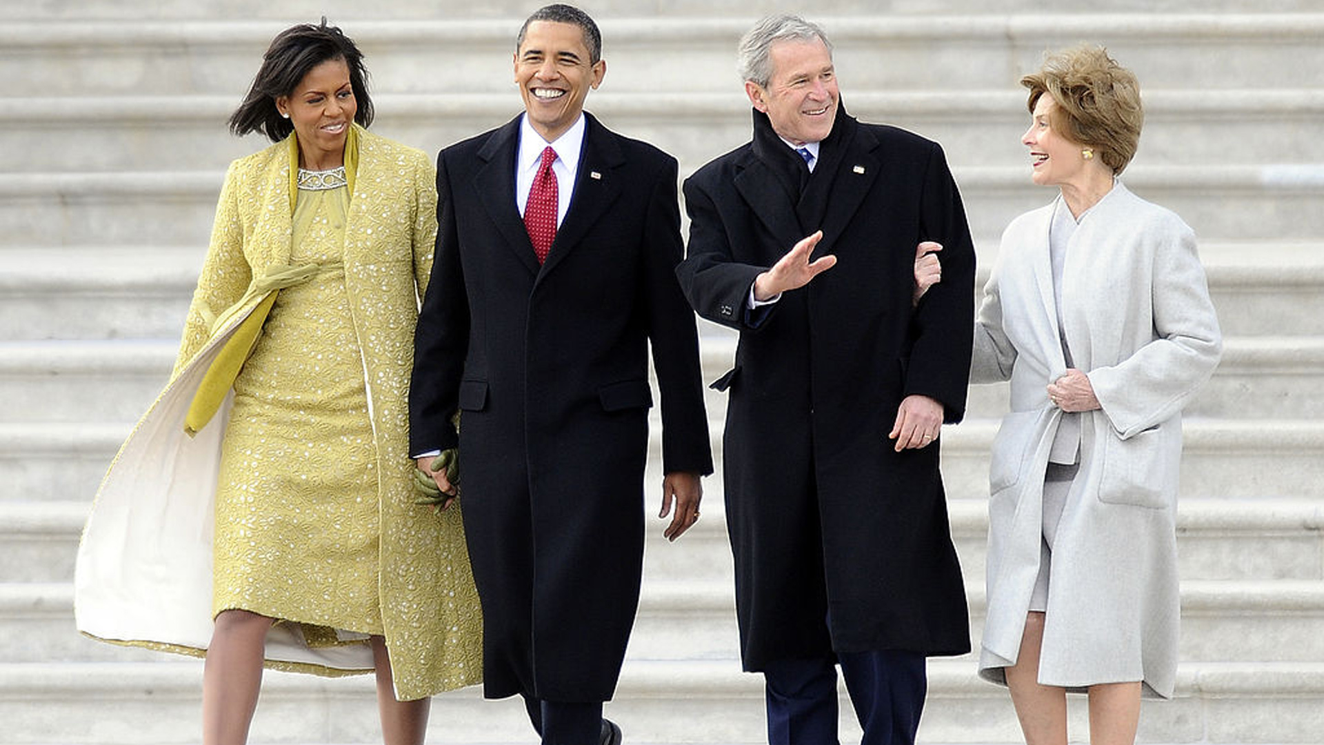 President and First Lady Bush leave the Capitol