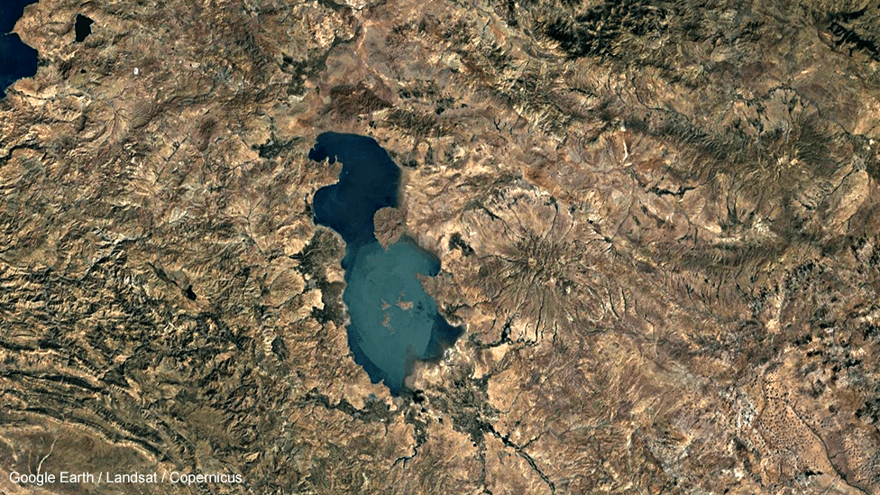 Lake Urmia in Iran, satellite image, 1984