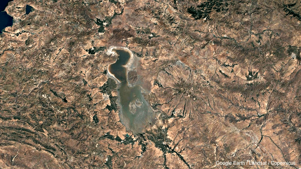 Lake Urmia in Iran, satellite image, 2016
