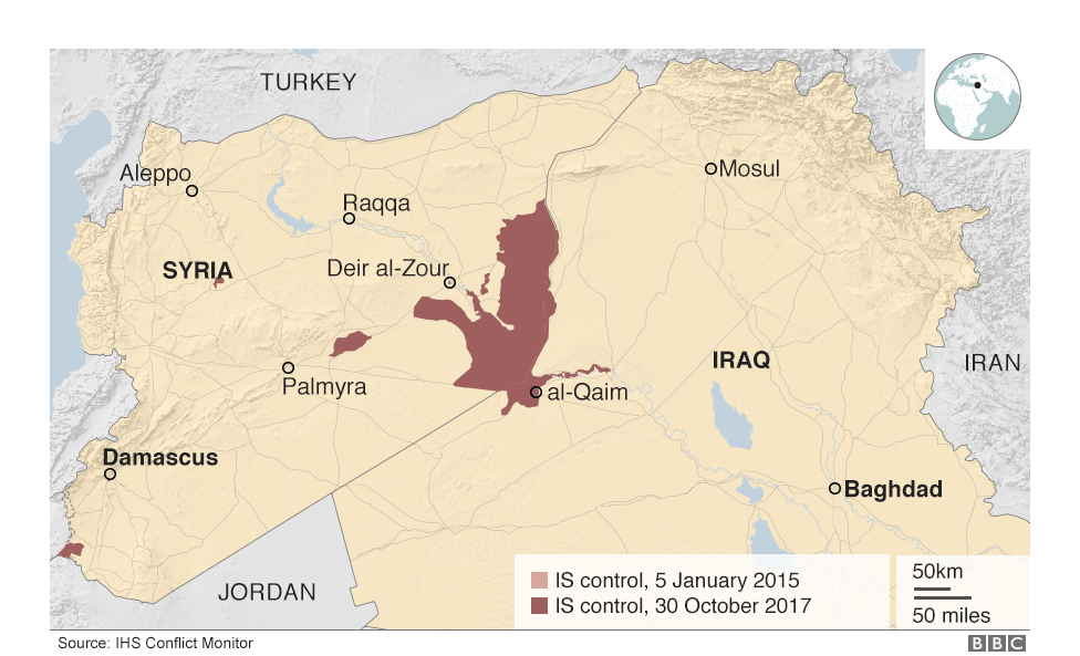 Area controlled by Islamic State group at the end of October 2017