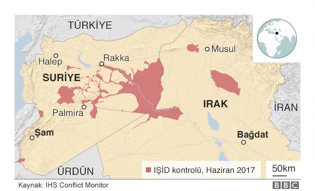 Haziran 2017'de IŞİD'in Suriye'de kontrol ettiği toprakları gösteren harita
