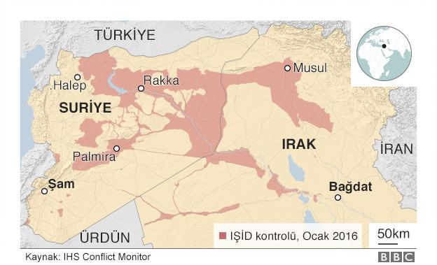 Ocak 2016'da IŞİD'in Suriye'de kontrol ettiği toprakları gösteren harita
