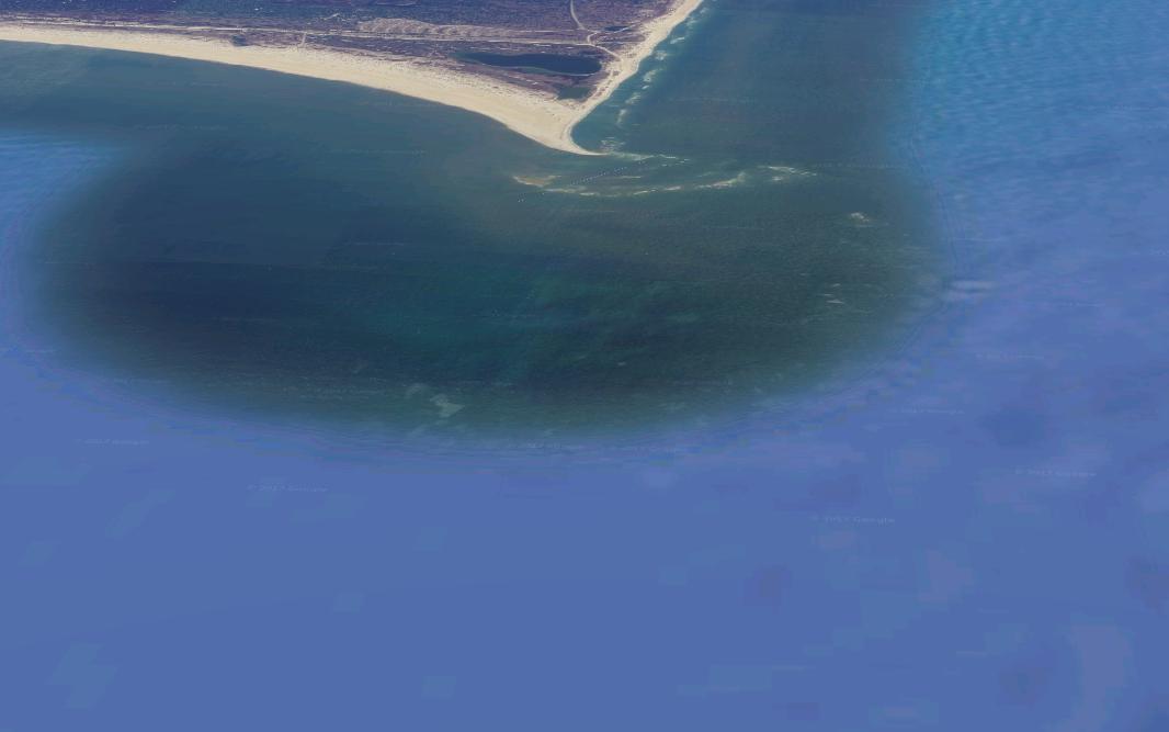 Imagen del banco de arena antes de que se forme la isla.
