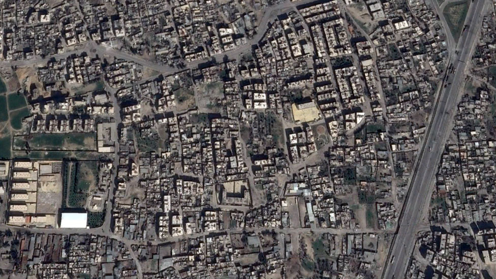 Satellite image shows part of the residential neighbourhood of Jowbar in 2013