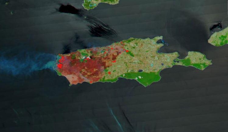 Kanguru Adası yangın sonrası uydu görüntüleri