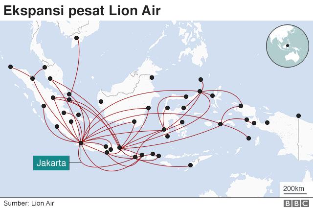 peta rute Lion Air tahun 2018