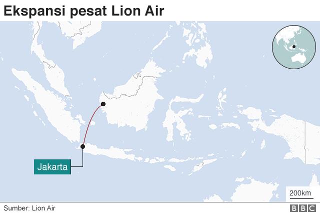 peta rute Lion Air tahun 2000