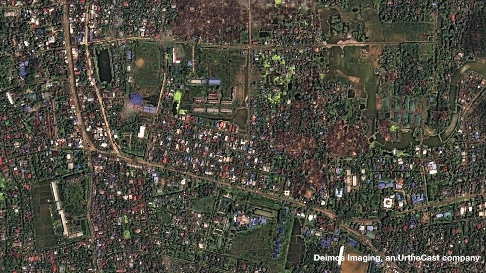 عکس ماهوارهای از ماونگداو پس از آغاز خشونتها