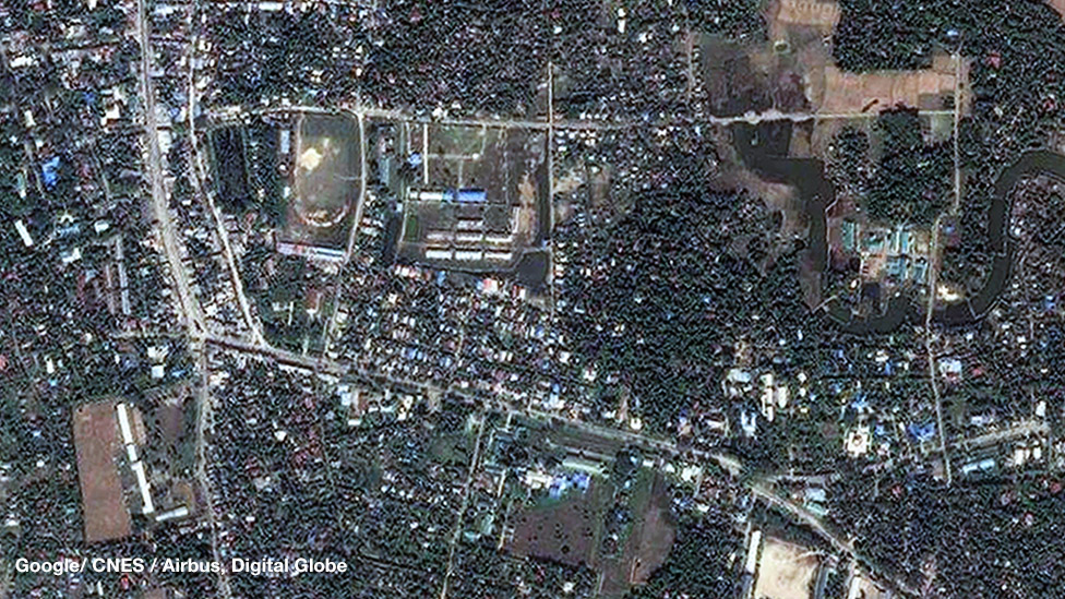 Gambar satelit tentang Maungdaw sebelum kekerasan marak