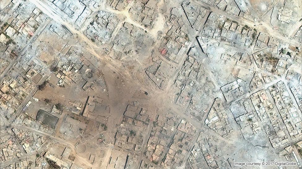 Musul'daki Eski Kent'in Temmuz 2017'deki uydu görüntüsü