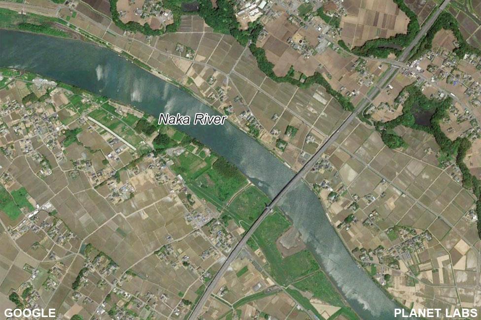Satellite image of Naka River before Typhoon Hagibis