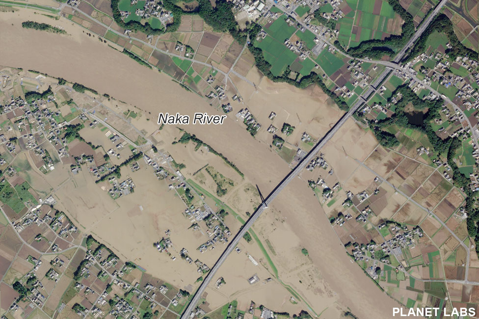 Satellite image of Naka River after Typhoon Hagibis
