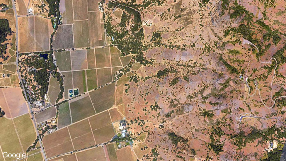 Google satellite image of Napa wine growing area in United States