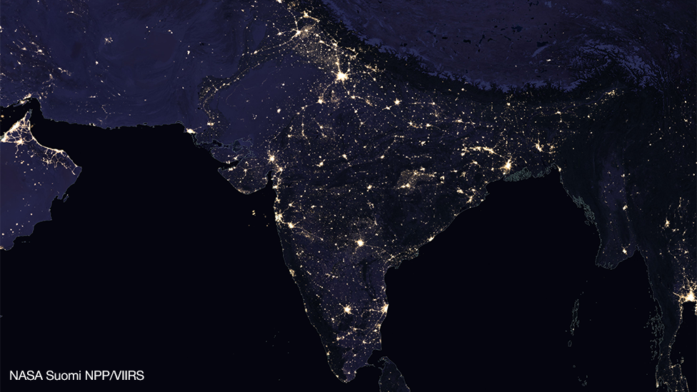 Satellite image showing India at night, 2012