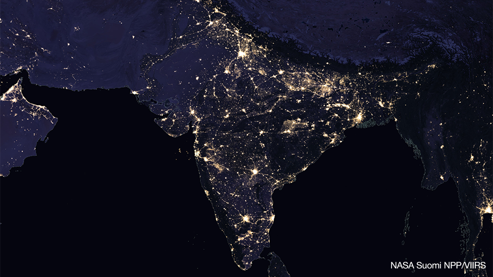 Satellite image showing India at night, 2016