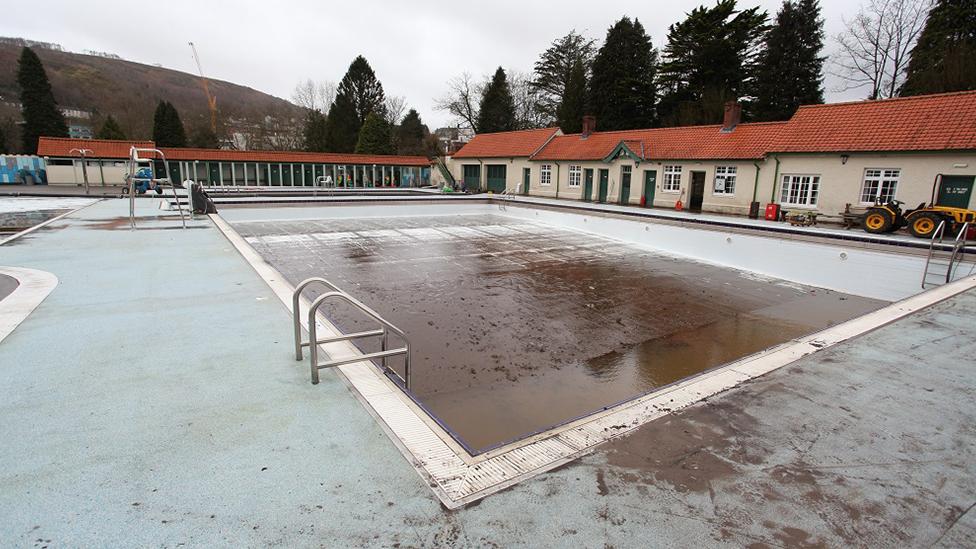 Pontypridd lido after 2020 floodings