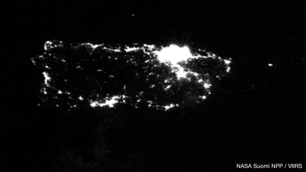 Imagen satelital del alumbrado eléctrico en Puerto Rico, 26 de septiembre de 2017